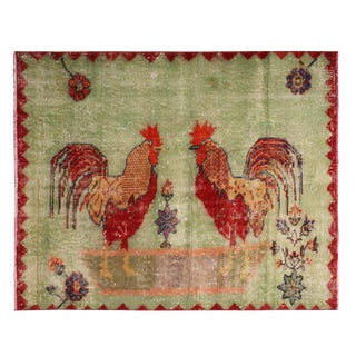 Vintage Mid-Century Green and Red Wool Rug With Rooster Pictorials - 3′1″ × 3′10″ For Sale