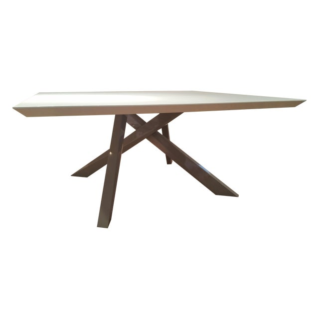 Contemporary White Lacquered Dining Table - Image 1 of 9