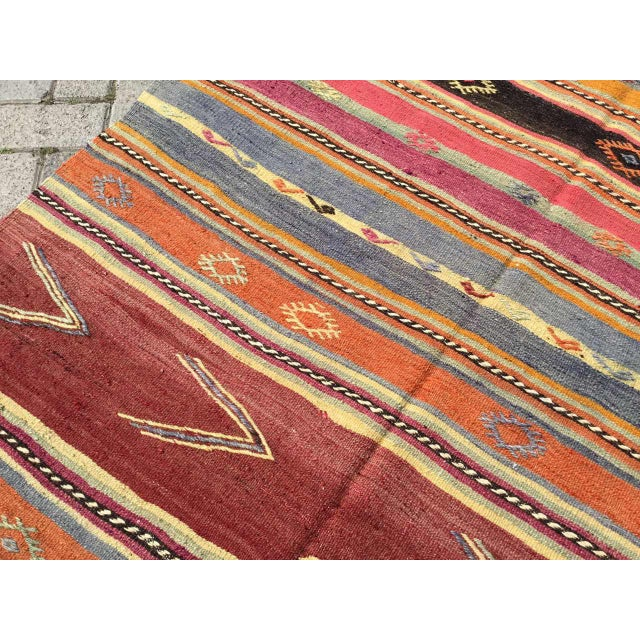 Striped Soft Colored Turkish Kilim Rug For Sale In Raleigh - Image 6 of 9