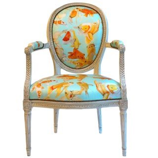 French Balloon Back Chair X Voutsa Koi on Tiffany Blue