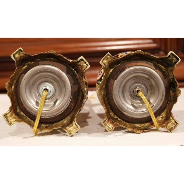 French Hand-Painted Porcelain & Bronze Oil Lamps - A Pair For Sale - Image 9 of 10