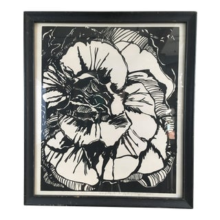 "Margaret Copfer 1980 Black & White ""Orange Begonia"" Silkscreen Print For Sale"