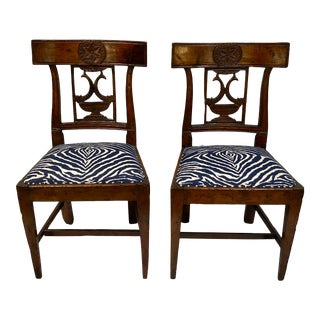 19th Century Antique French Hand Carved Accent Chairs-A Pair For Sale