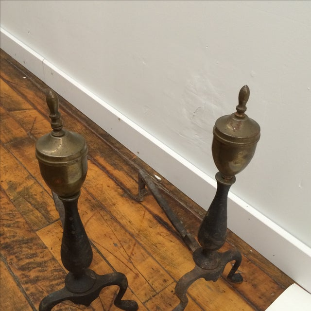 Petite Iron & Brass Andirons - A Pair - Image 5 of 5