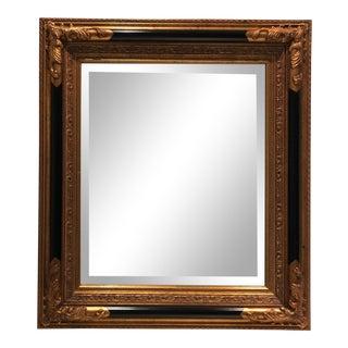 Vintage Golden Black d'Or Beveled Wall Mirror For Sale