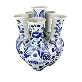 """Lg B & W Porcelain Chinoiserie Vase 19 """" H by 16"""" W For Sale"""