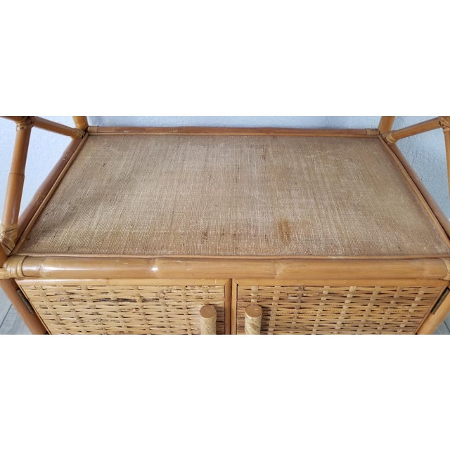Brown Vintage Two Tier Rolling Bar Cart For Sale - Image 8 of 10