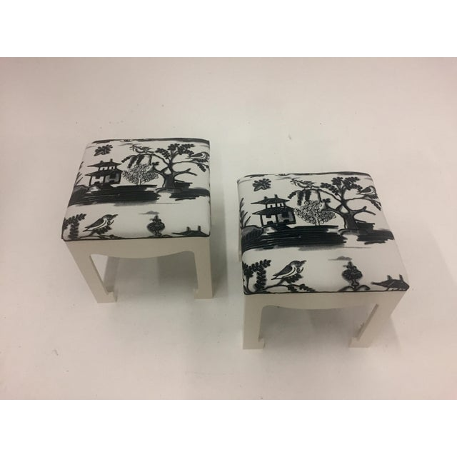 1970s Vintage Hollywood Regency Ottomans- A Pair For Sale - Image 11 of 13