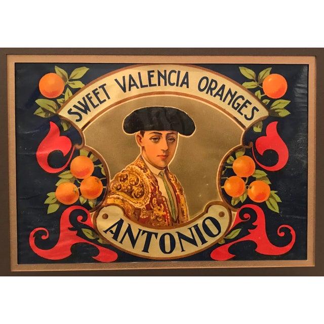 Illustration 1920's Original Vintage Spanish Fruit Crate Label - Antonio - Sweet Valencia Oranges For Sale - Image 3 of 4