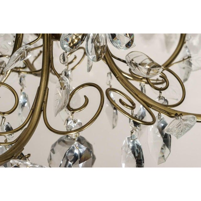 Louis XV Style Crystal and Brass Chandelier For Sale - Image 9 of 11
