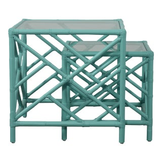 Chippendale Nesting Tables - Turquoise For Sale