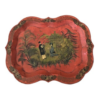 1950s Mid Century Chinoiserie Hand Painted Tole Tray For Sale