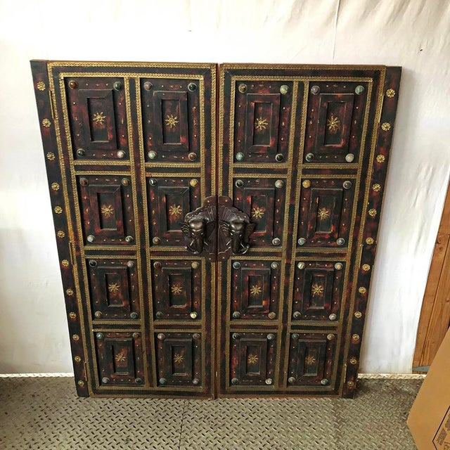 Metal 1980s Vintage Ornate Panel Door Set- A Pair For Sale - Image 7 of 8