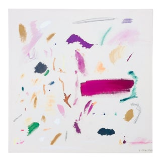 Multi-Colored Abstract Painting on Linen by Virginia Chamlee For Sale