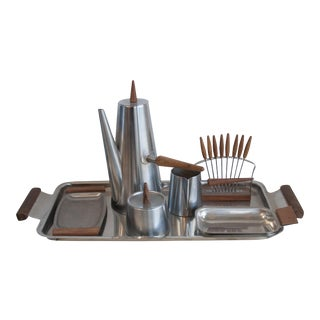 Mid-Century Swedish Modern Coffee Set and Tray With Teak Handles