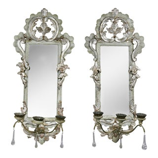 Pair of Italian Rococo Gray Painted and Silver Gilt Mirrored Wall Lights For Sale
