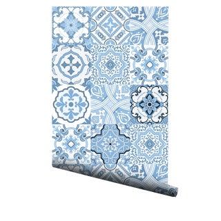 Portuguese Sea Foam Tiles Pre-Pasted Wallpaper