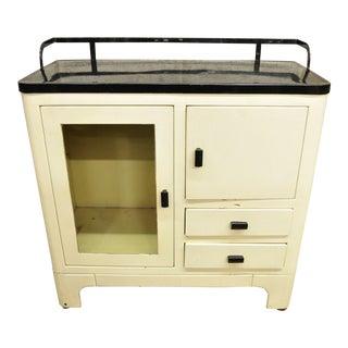 Art Deco Steel Metal Porcelain Enamel White Medical Dental Bathroom Cabinet For Sale