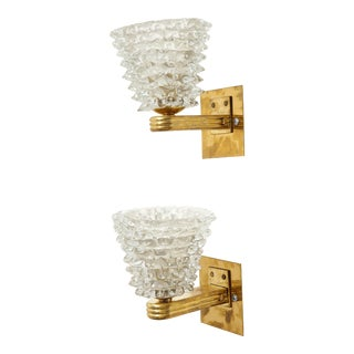 Pair of Bespoke Murano Glass Sconces For Sale