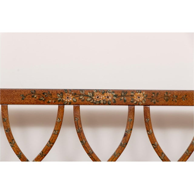 Metal Early 20th Century Satinwood Hand-Painted Cane Settee For Sale - Image 7 of 12