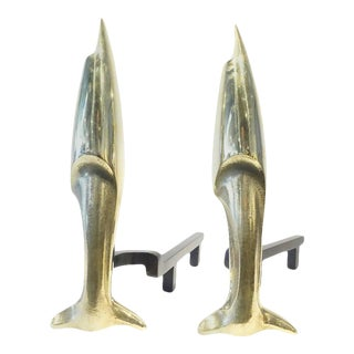 Pierre Legrain Style Andirons Solid Brass Fireplace Andirons For Sale