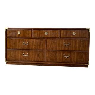 Thomasville Campaign Walnut & Brass Dresser For Sale
