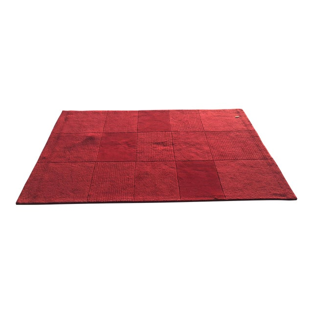 """Red Hand-Tufted Rug - 4'8"""" x 6'8"""" - Image 1 of 8"""