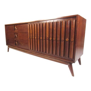 Midcentury Sliding Door Walnut Dresser For Sale
