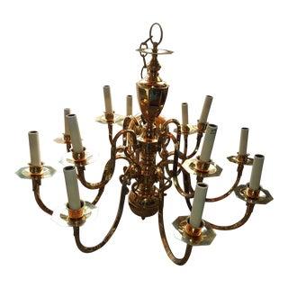 1970s Vintage Brass 12-Light Chandelier For Sale
