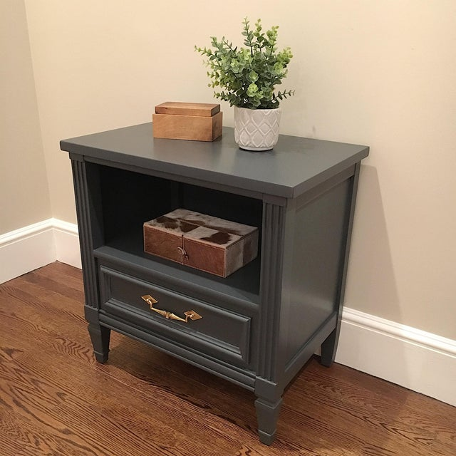 Wood 1970s Hollywood Regency Bassett Gray Tall Dresser and Nightstand Set - 2 Pieces For Sale - Image 7 of 12