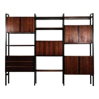 Mid-Century Danish Modern Rosewood Wall Bookcase For Sale