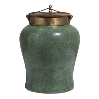 A Green Ceramic and Bronze Lidded Urn 1950s For Sale