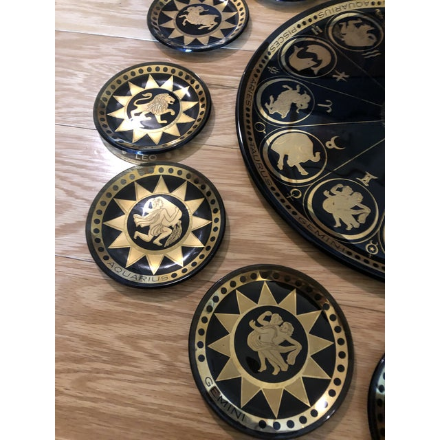Vintage Mid Century Modern Astrological Glass Tray & Plates For Sale In Philadelphia - Image 6 of 7