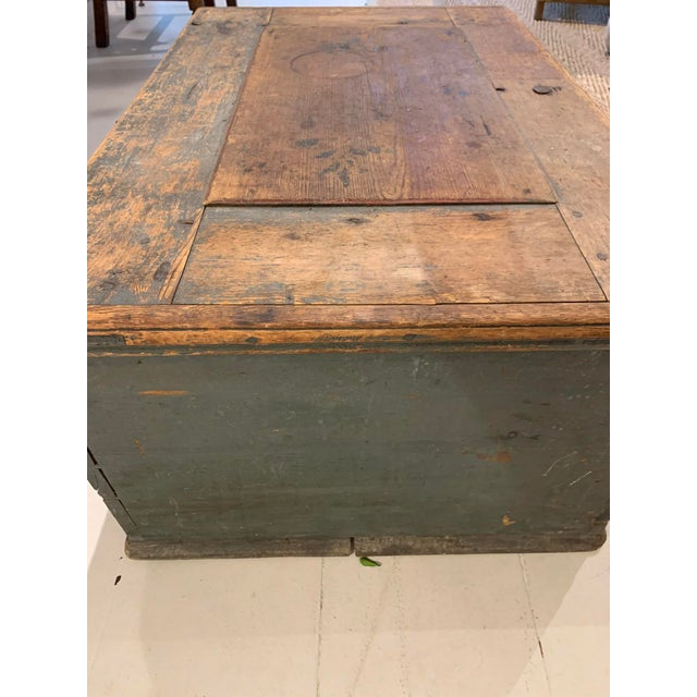 Wood 19th Century Patinaed Wooden Trunk For Sale - Image 7 of 12