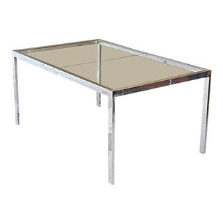 1970s Mid-Century Modern Milo Baughman Chrome & Glass Extension Dining Table For Sale