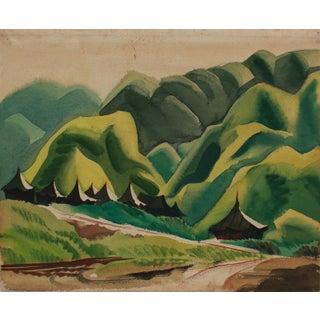 """Nadzab"" 1940's Gouache and Graphite Lush Mountain Landscape For Sale"
