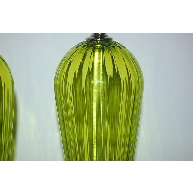 Swank Lighting Joe Cariati Glass Table Lamps Green For Sale - Image 4 of 7