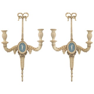 Pair of 19th Century Carved Wood Sconces Centered by Wedgewood Bisque Plaques For Sale