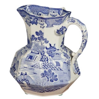 Blue and White Ironstone Pitcher For Sale