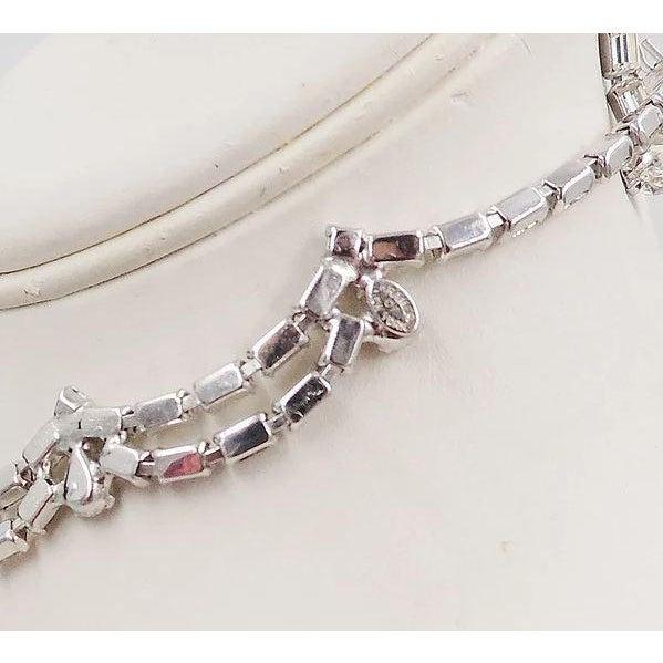 1950s Kramer of Ny Rhinestone Festoon Necklace For Sale - Image 10 of 12