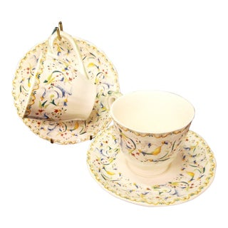 Gien Toscana Teacups & Saucers - New in Box - Set of 2, 4 Pieces For Sale