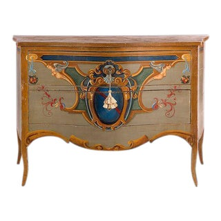 19th Century Italian Leda Hand Painted Commode For Sale