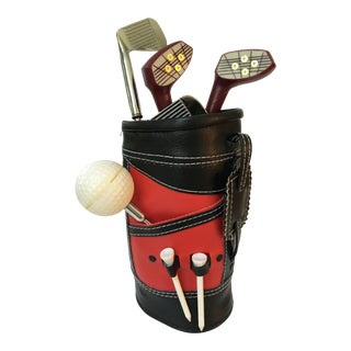 Vintage Mid-Century Golf Bar Tool Set in Red Golf Bag Holder For Sale