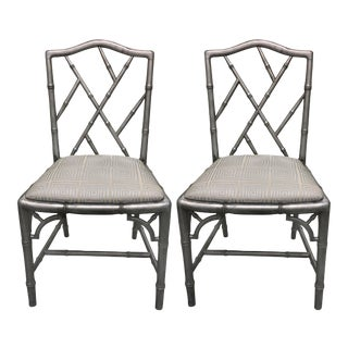 Pair of Chinoiserie Silver Painted Faux Bamboo Side Chairs For Sale