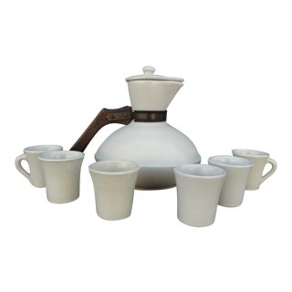 Catalina Island Pottery Carafe With Lid and Cups - 8 Piece Set For Sale