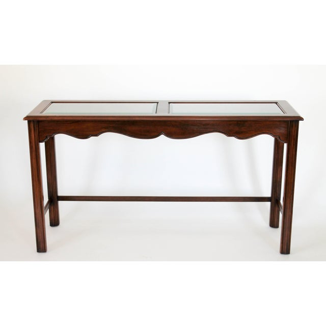 French Country Drexel Heritage Console or Sofa Table W/ Benches - 3 Pc. Set For Sale - Image 3 of 11