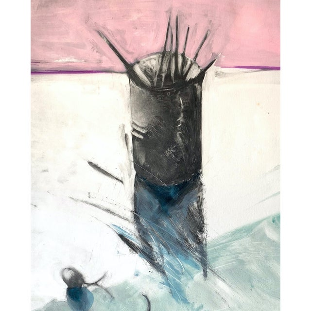 """Boho Chic 1982 Monotype """"Cup of Brushes"""" Bay Area Female Artist For Sale - Image 3 of 5"""