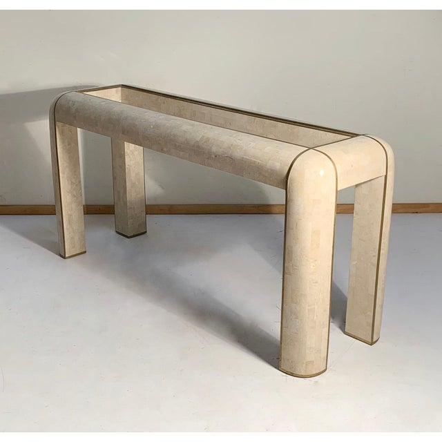 Mid-Century Modern Maitland-Smith Console Tessellated Fossil Mosaic Stone Marble Console Table For Sale - Image 3 of 7