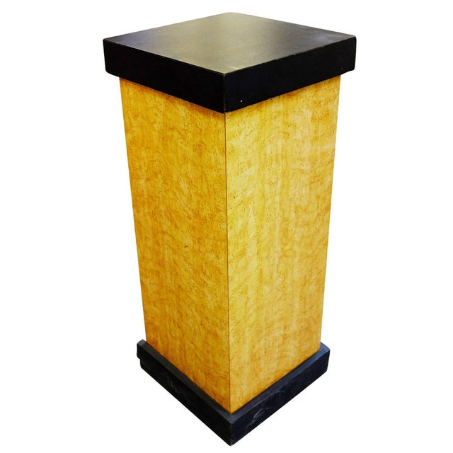 Modernist Art Deco Bird's-Eye Maple pedestal with black painted top.