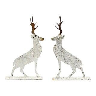 Salvaged Metal Deer, a Pair For Sale